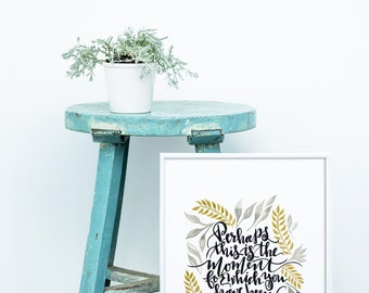 Esther Quote with Gold and Gray leaves