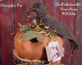 Primitive Pumpkin Pie Olde Pie Cupboard Topper Instant Digital Download E-Pattern  ET