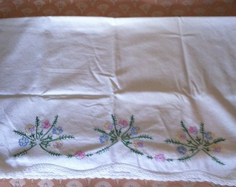 Embroidered Pillowcase with Colors of Summer- Flower Embroidery pillowcase-Pillowcase Linens