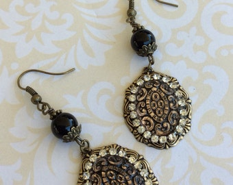 Dark Cab Earrings, Brass Components, Beautiful Style Earrings, Handmade Jewelry, Handmade Earrings