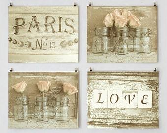 Rustic French Cottage Decor, Shabby Cottage Chic Photo Set, Wall Art Gallery, Sepia Art, Romantic Prints, Peach Rose Photo, Mason Jar Art