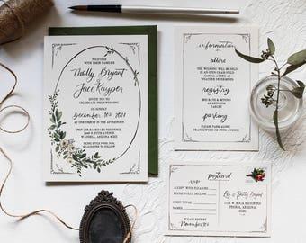 Molly's Boho Suite - Ivory Cream & Olive Green Semi-Custom Floral Calligraphy Wedding Invitation Design