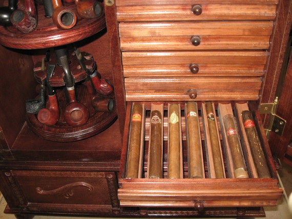 - Antique Style Pipe Rack Cigar Humidor Cabinet 500C