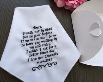 Custom Wedding Handkerchief-Gift For Step Father Of The Bride -Personalized Hanky- Embroidered-Free Wedding Gift Box With Ribbon-Code:1222