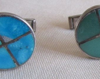 Sterling Silver and Turquoise Cuff Links