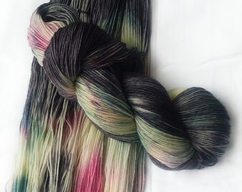 Hand dyed yarn, Southern lights, 75/25 super wash merino wool/nylon yarn, sock yarn, black yarn, pink yarn, blue yarn, white yarn, yarn