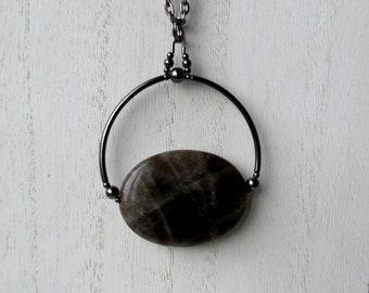 Smokey Quartz Necklace Bead Pendant Necklace Gothic Metallic Black Hematite Dark Crystal Oval Minimalist Black Quartz Necklace Smoky Quartz