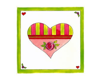 Heart to Heart - Be My Valentine - Hearts and Flowers - Art Print and Original Watercolor and Gouache Painting by Suzanne MacCrone Rogers