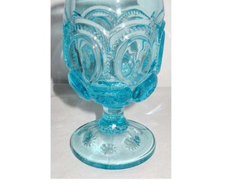 Aqua Glass Stemmed Goblet Star Motif Home and Garden Kitchen and Dining Drink and Barware Wine Goblets