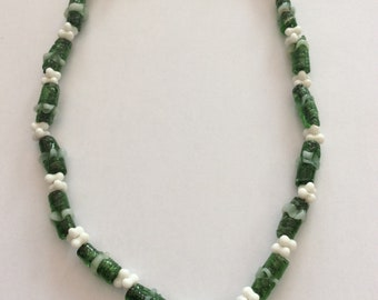 Vintage Green and White Glass Necklace
