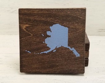 Pick State, Pick Color, Alaska Wood Coasters, Set of 4, Wedding Gift, Housewarming Gift