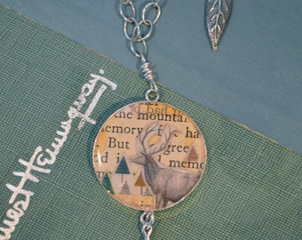 One of a kind collage on long sterling necklace with deer and forest set under resin. Miniature woodland scene, woodland jewelry