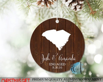 Personalized Wedding Ornament - State Wedding Ornament - 1st Christmas Engaged Ornament - Gift for Couples - Engagement Gift for Christmas