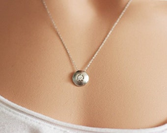 Diamond necklace in 14k white gold,  Gold diamond necklace, dainty gold necklace, bridal jewelry, anniversary, solid 14k gold, gift for her