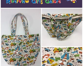 Large Tote Bag - Dogs Cream
