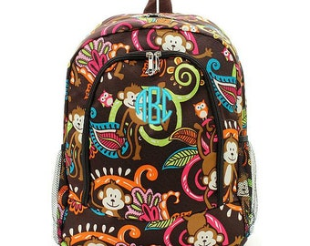 Monogrammed Backpack Personalized Monkey Brown Backpack Personalized Backpack Kids Backpack Girls Backpack Boys Backpack