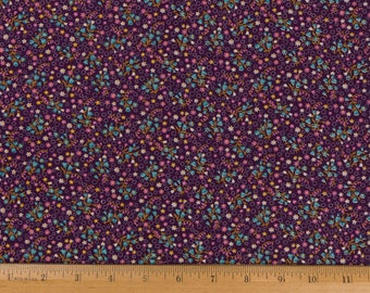 Plum colored cotton fabric Calico Cotton print 1 yd 34 inches wide Small floral print Doll fabric Quilts tiny blue/pink/white flowers