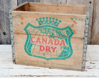 Vintage Canada Dry Ginger Ale Shipping Crate Wooden Box Green Red Logo Handles Soda Beverage Decorative Storage Collectible 1960's