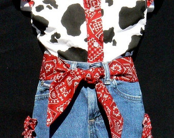 Original Natosha's outfit red bandnana and cowprint sizes 1T - 5T