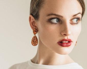 Double Drop Earrings - Rose Gold Glitter - Laser Cut Drop Earrings - Exclusive to Each To Own