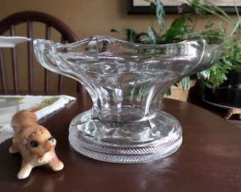 Rare Find-Vintage Clear Glass-McKee Pres-Cut-Large/Heavy Punch Bowl Base