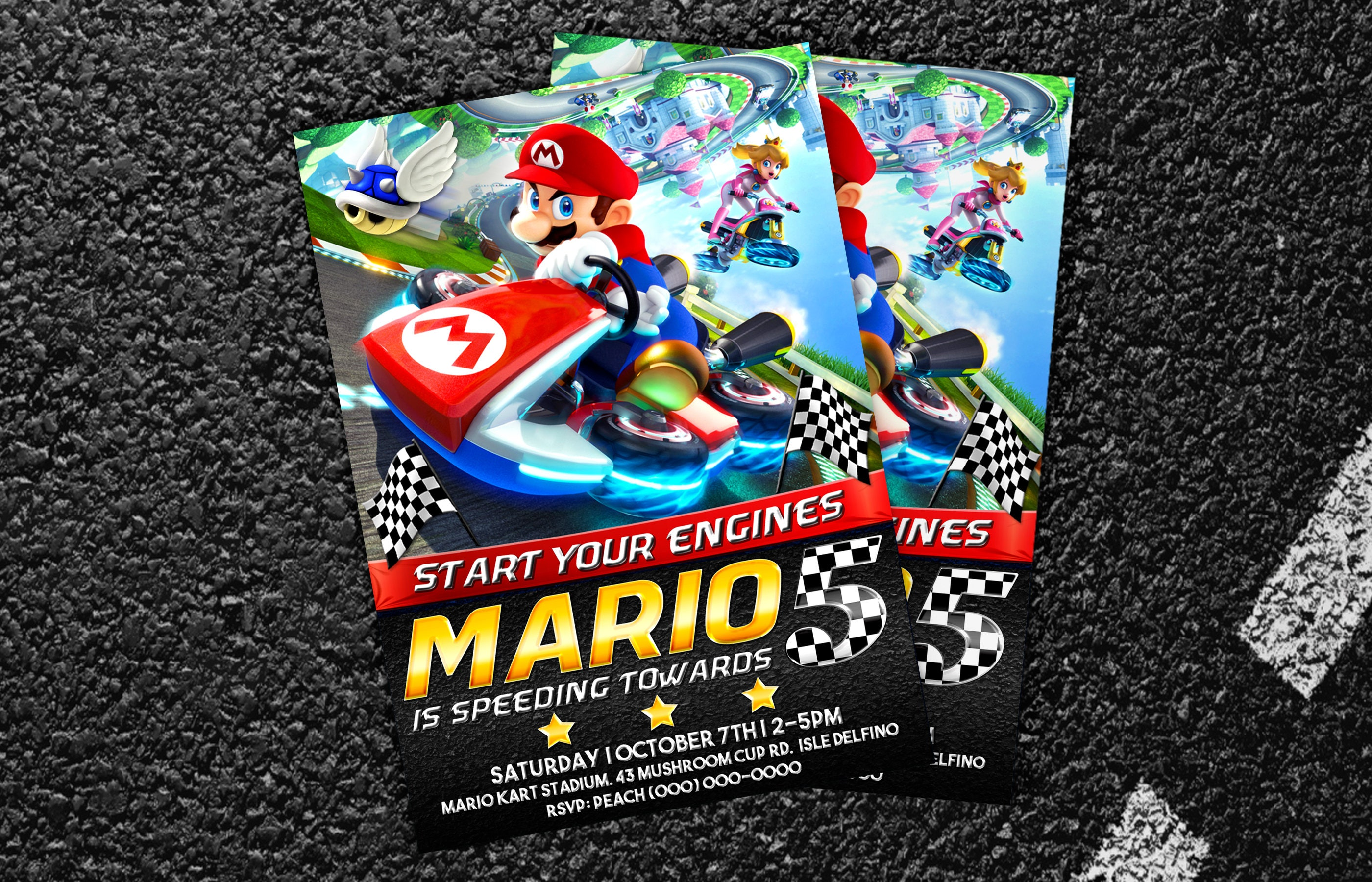 Custom Mario Kart Birthday Invitation 5x7 or 4x6