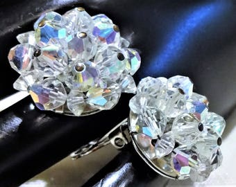 Beautiful Vintage Laguna  AB Bicone Crystal Button Style  Earrings