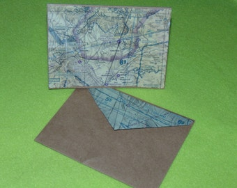 Sedona, Prescott, Flagstaff, AZ -Aviation - 3  note cards, made from aviation sectionals, kraft paper card and envelope.