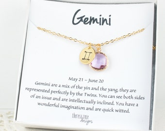 Gemini Zodiac Gold Necklace, Gemini June Necklace, June Birthday Jewelry, Zodiac Necklace, Astrology Gold Necklace