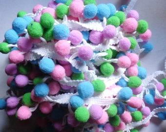1 inch wide Pom Pom pastel color Trim Ball Fringe Ribbon price for 1 yard