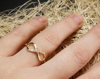 Diamond Engagement Ring- Diamond Infinity Ring -  14k gold diamonds 0.087 carat - Natural Diamond Ring - Yellow Gold Ring