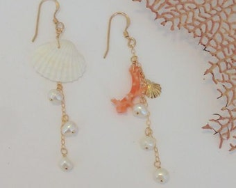 14kt Gold Filled Dangle Earrings with Clam Seashell, Coral, and Freshwater Pearls