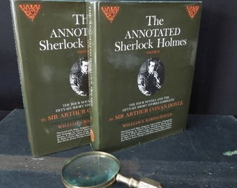 Two Volume Book Set Annotated Sherlock Holmes -  Sir Arthur Conan Doyle - Vintage Hardcover Novels - Mystery Detective