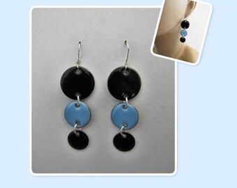 Black and Sky Blue Circle Enamel Sterling Silver Long Geometric Earrings