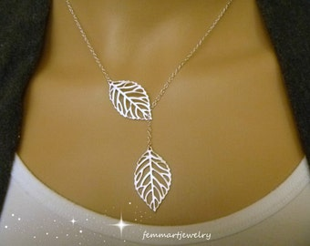 Leaf Lariat Necklace  - Leaf Necklace - Simple -Modern - Bridesmaid gift - Branch Necklace