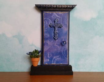 Indoor Cobalt Blue Fairy Door with Ornate Cross and Fairy Flower Pot