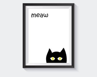Cat Printable, Digital Cat, Cat Wall Art, Cat Painting, Cat art, Large Printable, Gift for Children, Nursery Illustration, Room Decor
