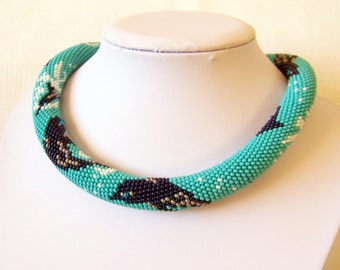 Bead crochet necklace with dolphins - Summer fashion statement necklace - Beadwork necklace - modern necklace - chunky rope necklace