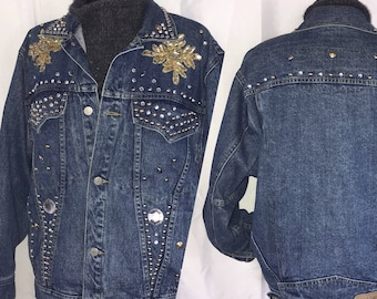 Vintage Denim Jacket. Denim Studded Sequin Jacket. Freego. 80s Denim Jacket. Vintage Jean Jacket. One-of-a-kind Jacket. Bling Bling Jacket.