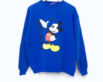 Rare! Vintage 80s MICKEY MOUSE MINNESOTA by velva sheen big logo sweatshirt blue colour large size