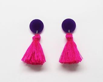 Tassel stud earrings purple and pink /// laser cut acrylic cotton dangle statement tassels jewelry jewellery festival bright colourful gift