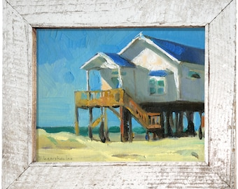 "Original Painting Decor House Oil Painting ""Beach House"" by Bo Kravchenko for SEASTYLE Wall Art Modern Contemporary Collectibles"