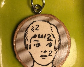 Vintage Science Wood Pendant Front and Back
