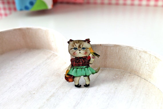 Cat Girl wooden brooch kawaii sweet lolita bird canari parrot