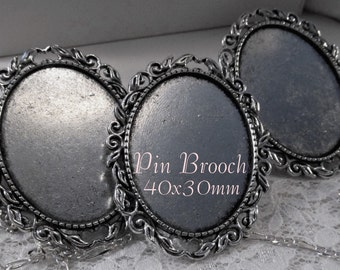40x30mm Pin Brooch - Antique Silver - 'Cottage I' - 3 pcs : sku 11.23.14.12 - W21