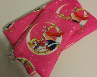 Pink Sailor Moon 2 Piece Set Zippered Wallet and Coin Pouch Make Up Bag Pencil Case Anime Cosplay