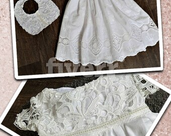 Baptism dress baby girl Christening gown set white handmade embroidery dresses  Miss AnnVestidos bautizo niña bebé