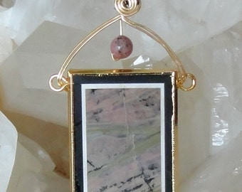 Picture Jasper Inarsia Pendant Wire Wrapped Necklace