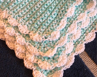 Minty& White Baby Afghan