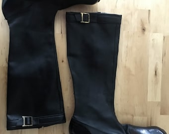 vintage 60s go go boots / mod boots / black leather knee high boots / 8.5 - 9